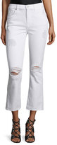 7 For All Mankind Mid-Rise Cropped Boot-Cut Jeans, Clean White 3