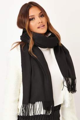 I SAW IT FIRST Black Cashmere Blanket Scarf