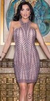 Scala Shimmering Fitted Jagged Halter Cocktail Dress