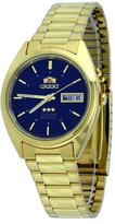 Orient #FEM0401FD Men's Gold Tone Stainless Steel Tri Star Blue Dial Automatic Watch