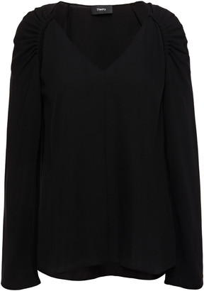 Theory Pleated Silk-crepe Top