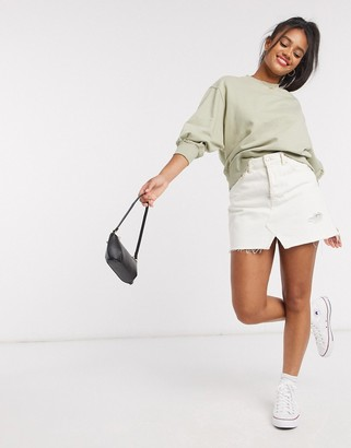 ASOS DESIGN boxy sweat with wide sleeve in olive