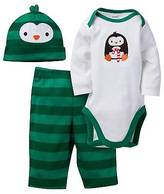 Gerber Baby Boys' 3 Piece Long Sleeve Bodysuit, Pant and Cap Set Green Penguin - Ger...