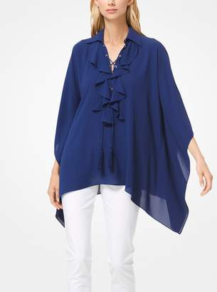 Michael Kors Silk-Georgette Ruffled Lace-Up Tunic