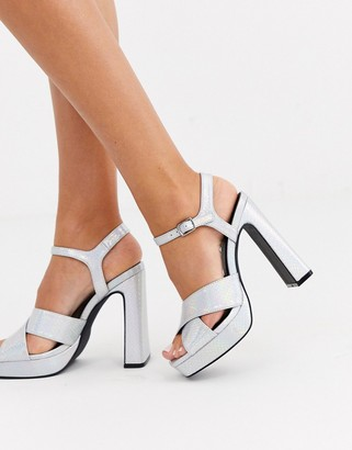 Truffle Collection cross strap platform heeled sandals-Silver