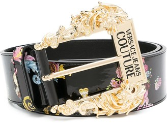 Versace Jeans Couture Barocco-print leather belt