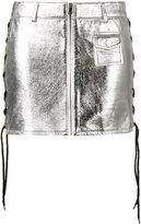 Filles a papa metallic lace up skirt - women - Lamb Skin/Polyester - 2