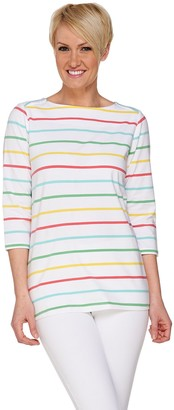 Denim & Co. Yarn Dyed Stripe 3/4 Sleeve Boat Neck Top