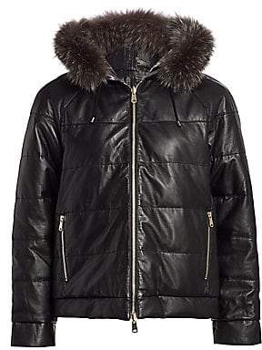 Brunello Cucinelli Women's Reversible Fox Fur-Trim Quilted Leather Jacket