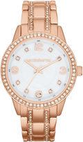 Liz Claiborne Womens Rose-Tone Crystal Large-Scale Watch