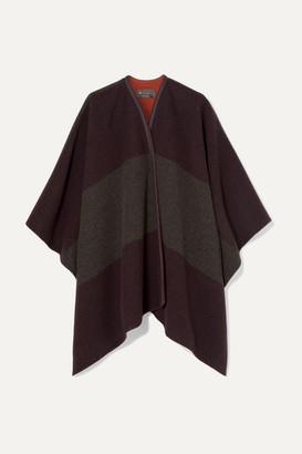 Loro Piana Mantella Esme Leather-trimmed Striped Cashmere Cape - Burgundy