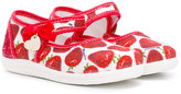 MonnaLisa strawberry print sandals - kids - Cotton/Calf Leather/rubber - 18
