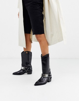 ASOS DESIGN Cryptic premium leather harness western boots