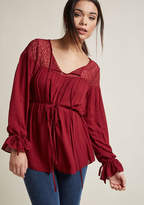 Lace Peasant Top in Burgundy in 4X - Long A-line Waist by ModCloth