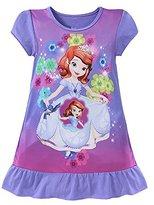Little Girls Short Sleeve Nightgown Pajamas Solid Sleepwear (XL-130CM, Purple)
