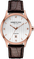Kenneth Cole New York Men's Diamond Accent Brown Leather Strap Watch 42mmx50mm 10030783