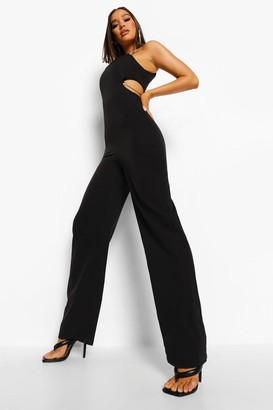 boohoo Cut Out Chain Strap Wide Leg Jumpsuit