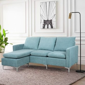 """Orren Ellis Blunt 77.2"""" Wide Reversible Sofa & Chaise with Ottoman Fabric: Red Linen Blend"""