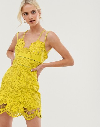 Asos Design DESIGN mini dress with rope straps in cutwork in embroidery-Multi