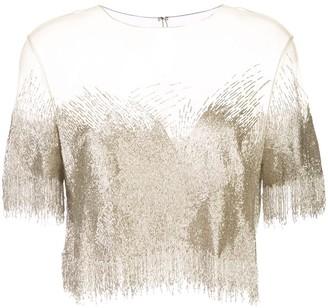 Oscar de la Renta beaded mesh T-shirt