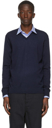Lanvin Navy Merino V-Neck Sweater