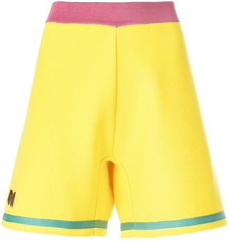 Marni embroidered A-line track shorts