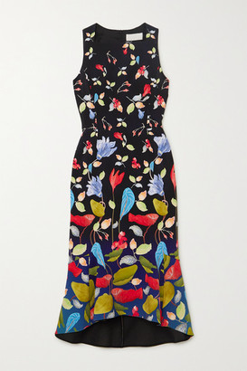 Peter Pilotto Kia Floral-print Stretch-cady Midi Dress - Black