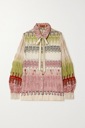 Missoni Pussy-bow Metallic Crochet-knit Shirt - Pink