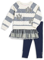 Flapdoodles Girls 2-6x Two-Piece Lace Graphic Dress and Leggings Set