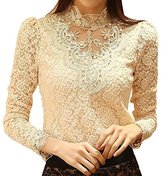 muju Women Crochet Blouse Lace Long Sleeve High Collar Chiffon Shirt