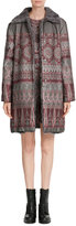 Alberta Ferretti Jacquard Coat with Shearling Collar
