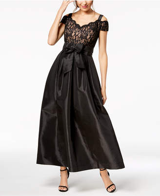 R & M Richards Lace Cold-Shoulder Gown