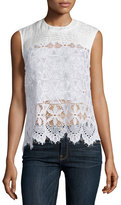 Frame Lace Sleeveless Top, Blanc