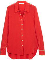 Pierre Balmain Washed-silk Blouse - Red