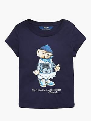 Ralph Lauren Polo Girls' Bear Print T-Shirt, Blue