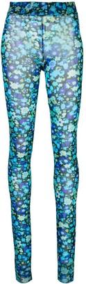 Ganni Floral-print mesh leggings