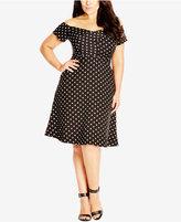 City Chic Plus Size Off-the-Shoulder Dot-Print Dress