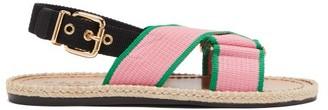 Marni Jute-sole Canvas Slingback Sandals - Womens - Pink Multi