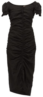 Brock Collection Ruched Satin Midi Dress - Womens - Black