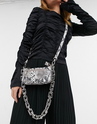 Nunoo Party leather shoulder bag with chunky chain in snake