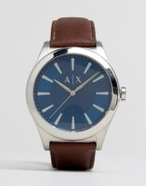Armani Exchange Leather Watch In Brown Ax2324