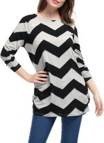 Allegra K Women's Zig-Zag Pattern Knitted Relax Fit Tunic Shirt XL Grey White
