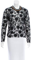 Sandro Guipure Lace Rib Knit-Trimmed Top