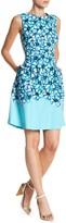 Sandra Darren Floral Print Box Pleated Shift Dress