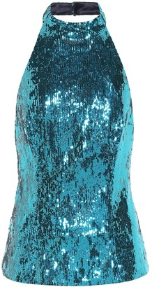 Galvan Sequined halter-neck top