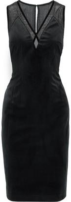 Elie Tahari Mikaya Metallic Mesh-paneled Appliqued Velvet Dress