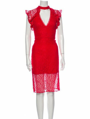 Alexis Lace Pattern Knee-Length Dress Red
