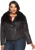 JLO by Jennifer Lopez Plus Size Faux-Shearling Moto Jacket