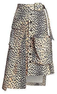 Jacquemus Women's Thika Leopard Belted Flap Pocket High-Low A-Line Skirt