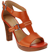 As Is Marc Fisher Leather T-strap Stack Heel Sandals - Tatyana
